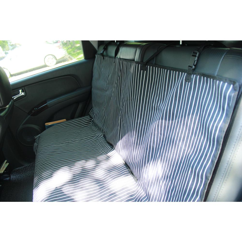 Pet Life Navy Blue And White Stripe Open Road Mess Free Back Seat