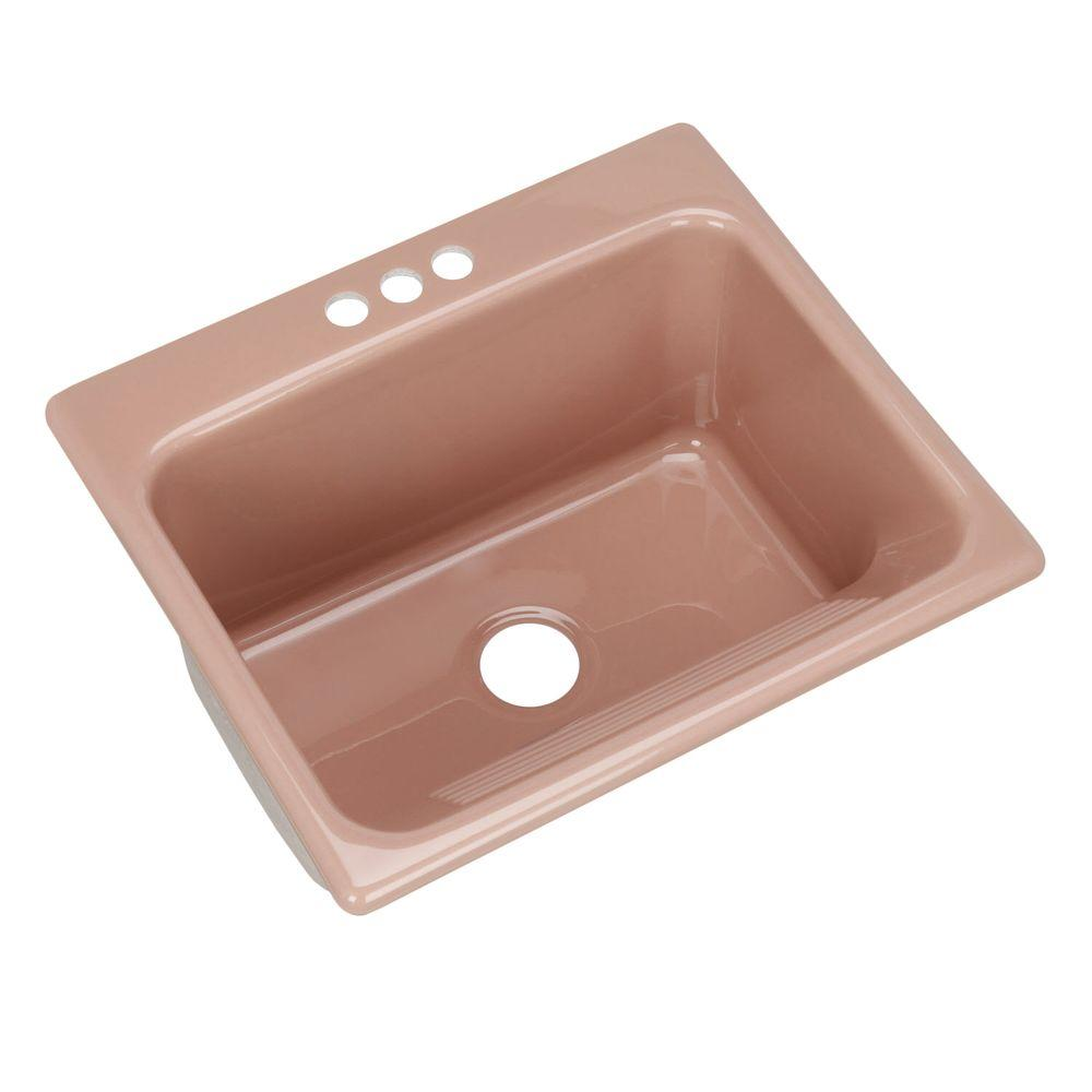 Thermocast Kensington Drop-In Acrylic 25 in. 3-Hole Single Bowl Utility Sink in Wild Rose