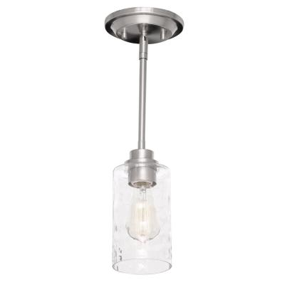 1-Light Brushed Nickel Mini-Pendant with Clear Hammered Glass Shade