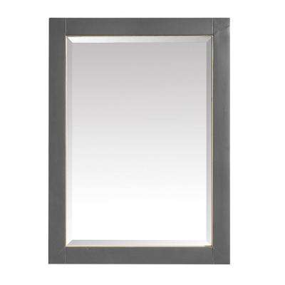 Allie 24 in. x 32 in. Framed Mirror in Twilight Gray with Gold Trim