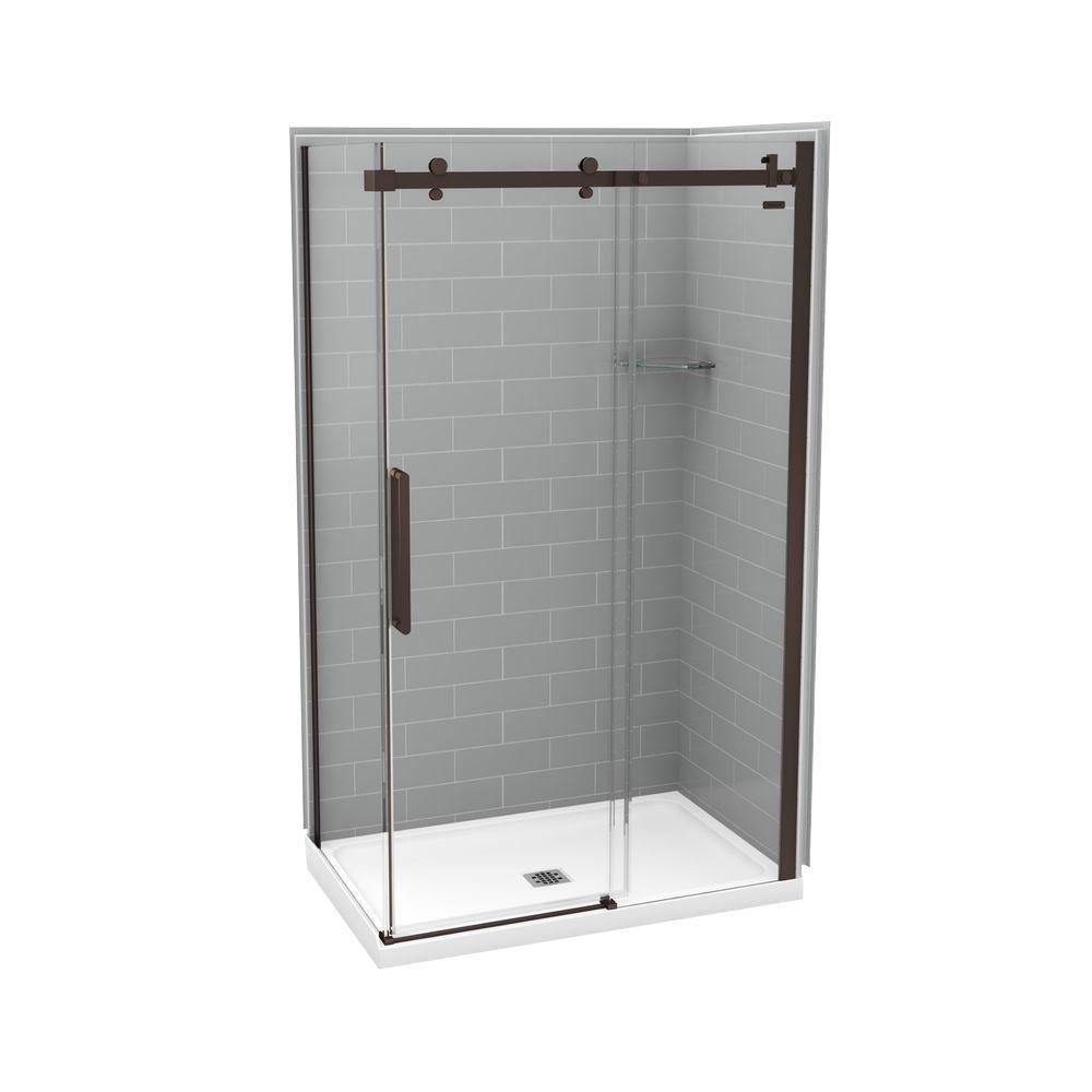MAAX Utile Metro 32 in. x 48 in. x 83.5 in. Center Drain Corner Shower Kit in Ash Grey with Dark Bronze Shower Door