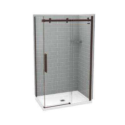 Utile Metro 32 in. x 48 in. x 83.5 in. Center Drain Corner Shower Kit in Ash Grey with Dark Bronze Shower Door