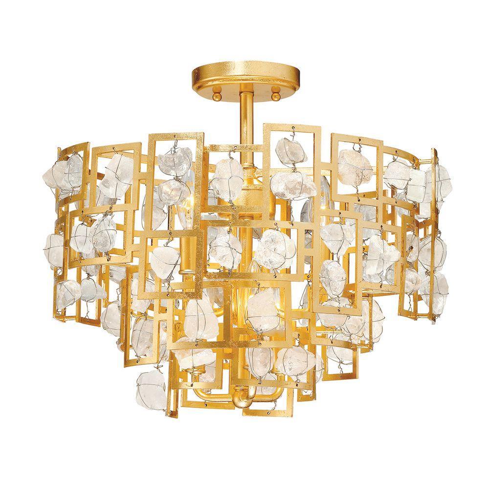 Elrose Collection 6-Light Gold Semi-Flush Mount Light