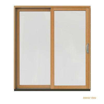 72 in. x 80 in. W-2500 Contemporary Brown Clad Wood Left-Hand Full Lite Sliding Patio Door w/Stained Interior