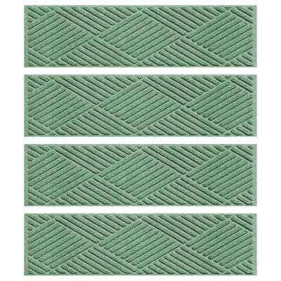 Light Green 8.5 in. x 30 in. Diamonds Stair Tread Cover (Set of 4)