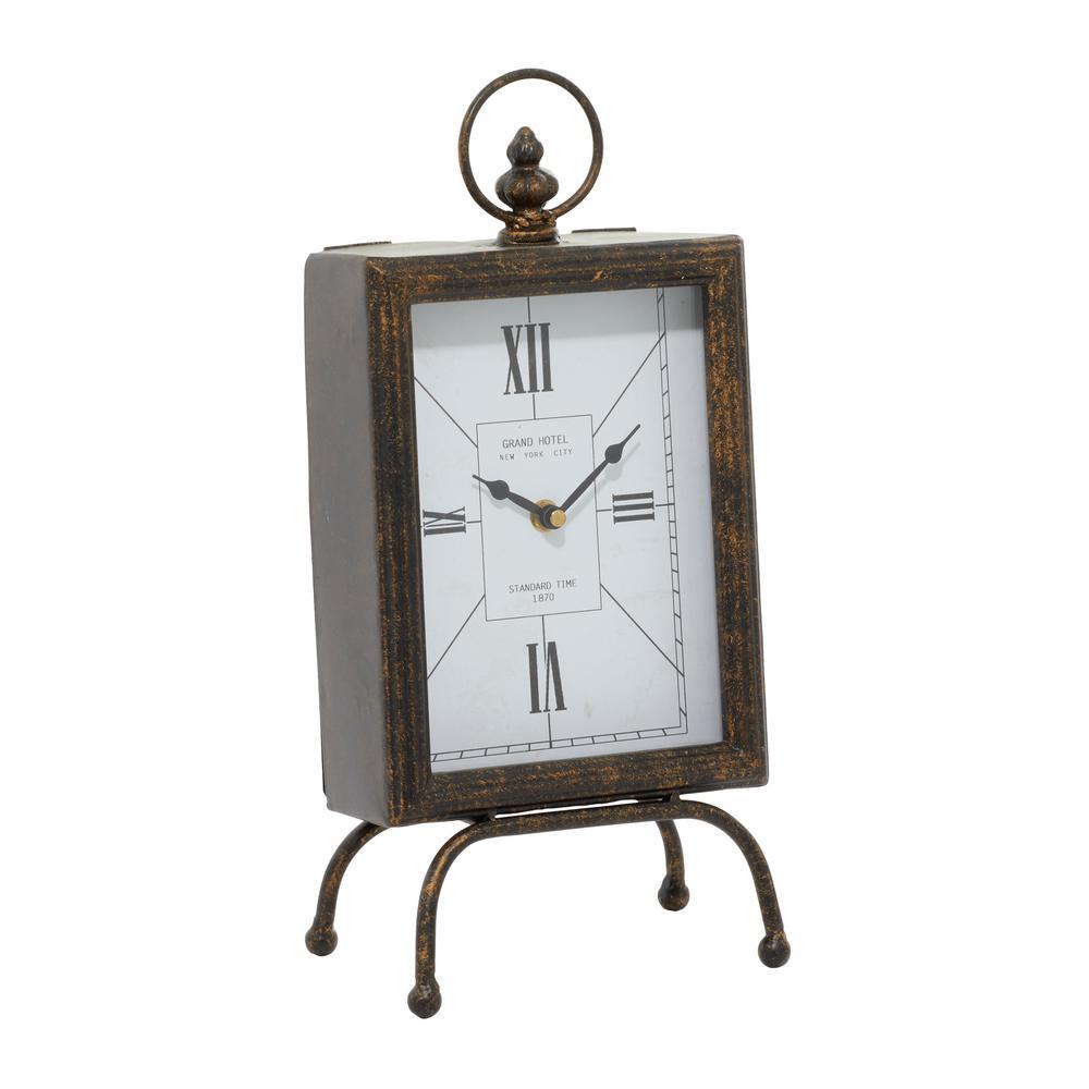 9 x 6 6 W-52508 Deco 79 Metal Table Clock 9 H