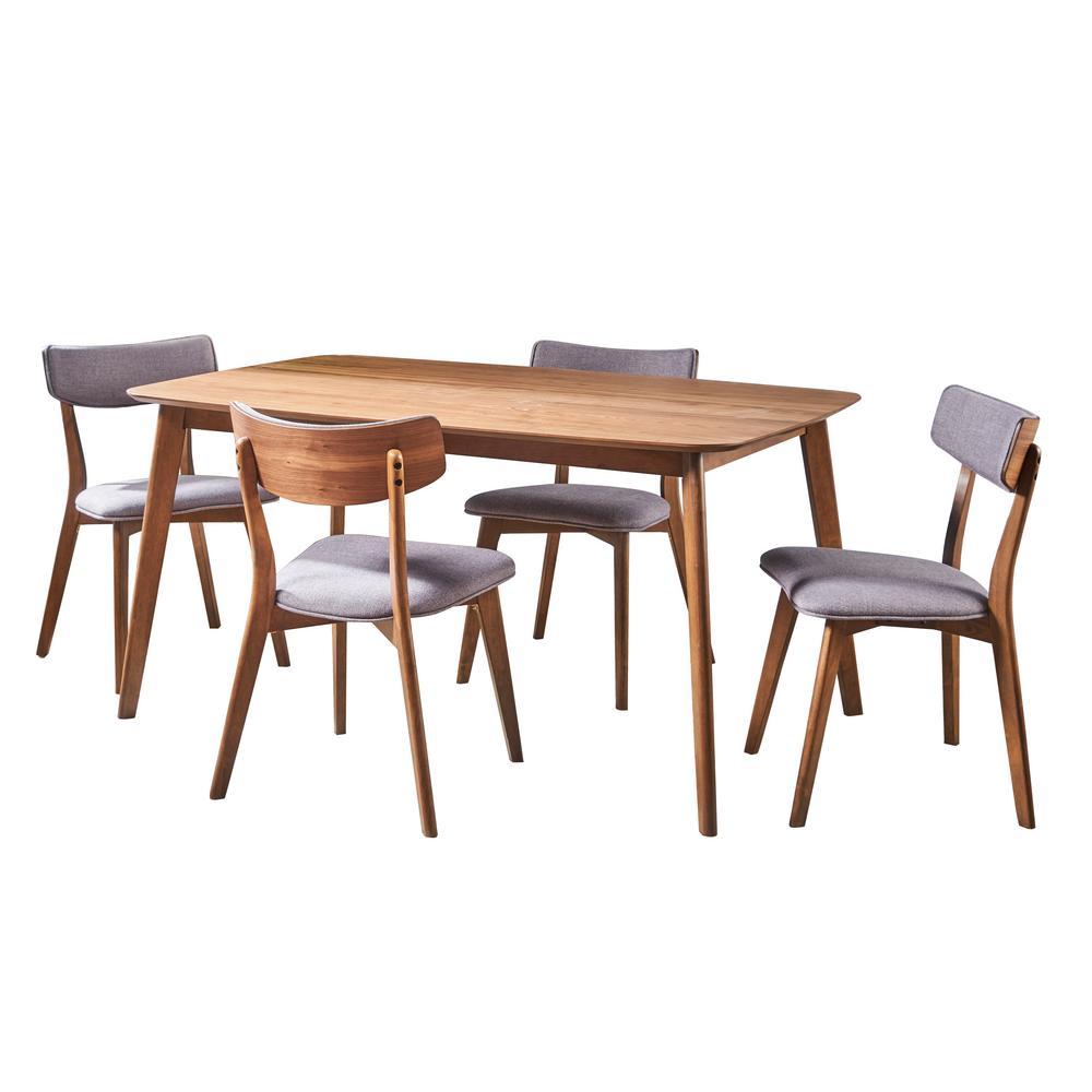 Alma 5-Piece Dark Grey and Natural Walnut Wood Dining Set