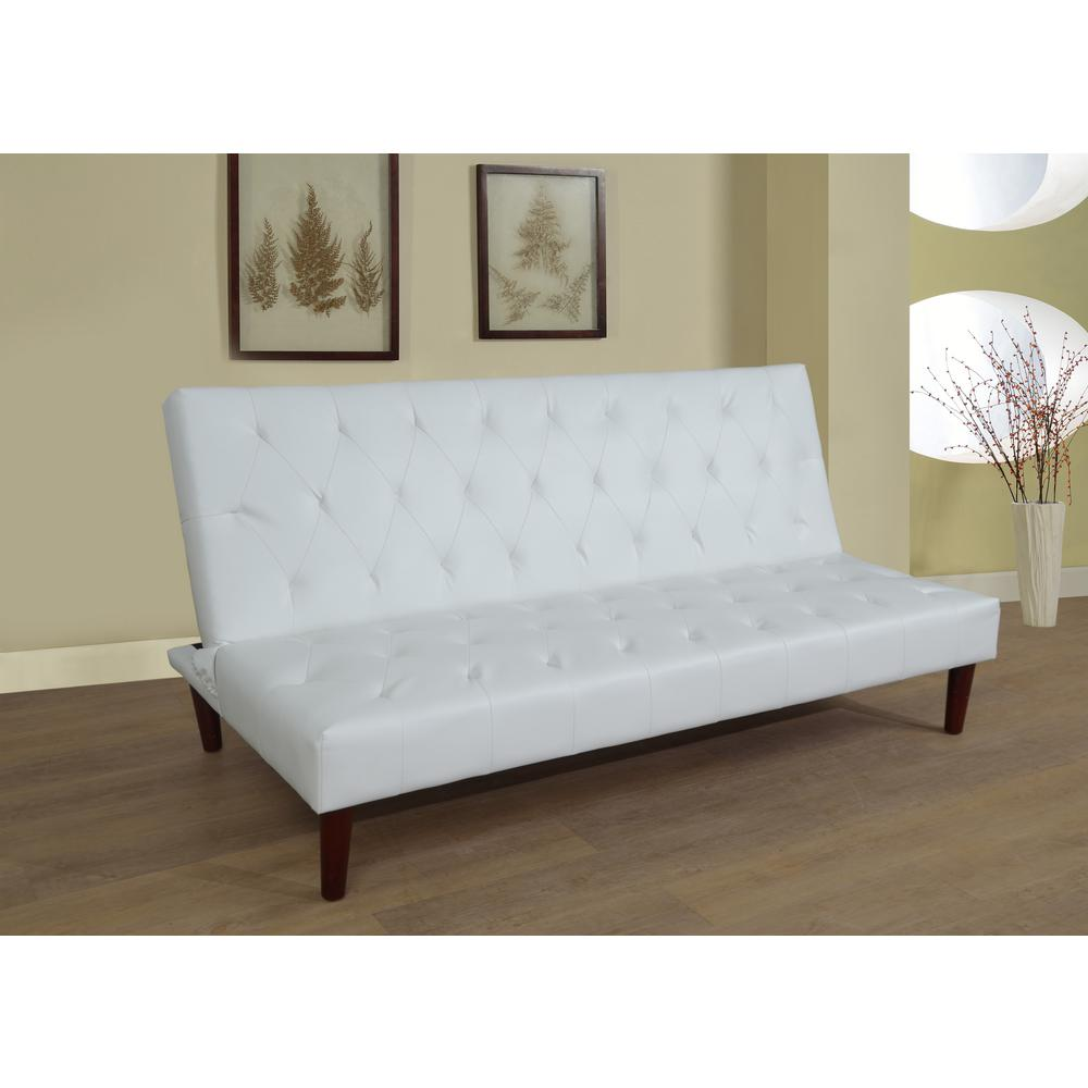 White Faux Leather Convertible Sofa Bed Futon