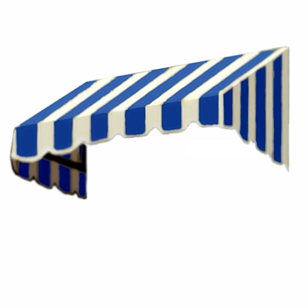 AWNTECH 50 ft. San Francisco Window/Entry Awning (24 in. H x 42 in. D) in Bright Blue / White Stripe