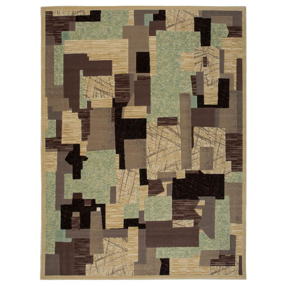 Nourison Overstock Modesto Collage Beige 7 ft. 10 in. x 10 ft. 6 in. Area Rug
