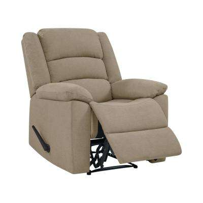 Wall Hugger Barley Tan Plush Low-Pile Velvet Reclining Chair