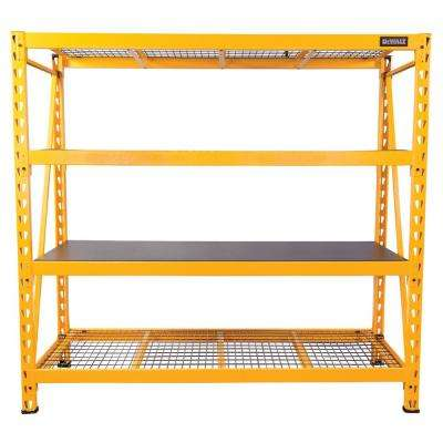 72 in. H x 77 in. W x 24 in. D 4-Shelf Steel / Laminate Expandable Industrial Storage Rack Unit in Yellow