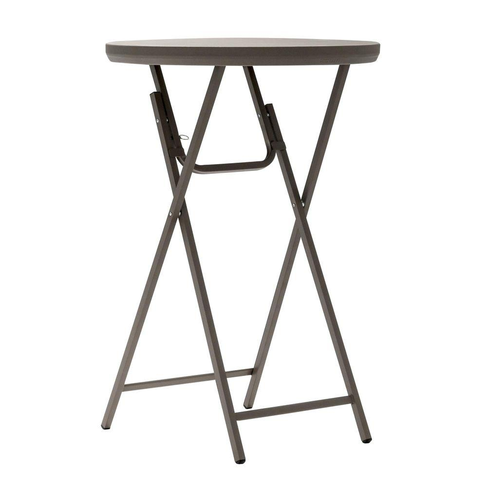 Cosco 30 in. Brown Plastic Folding Cocktail Table