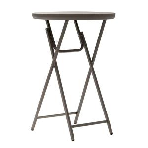 Cosco Commercial Heavy Duty Resin 2.5 ft. Round Folding Cocktail Table in Brown by Cosco