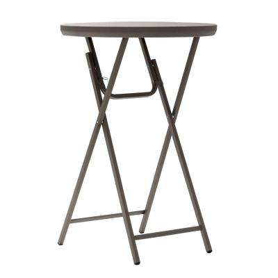 Commercial Heavy Duty Resin 2.5 ft. Round Folding Cocktail Table in Brown
