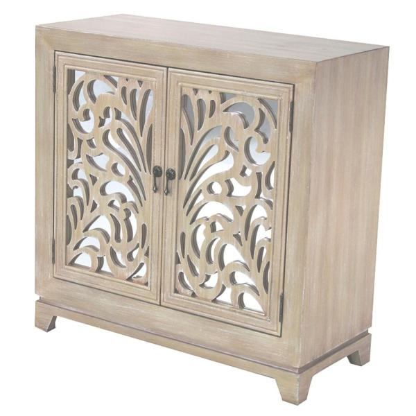 HomeRoots Shelly Assembled 32 in. x 32 in. x 14 in. White Wood Glass Sideboard Storage with 2 Doors
