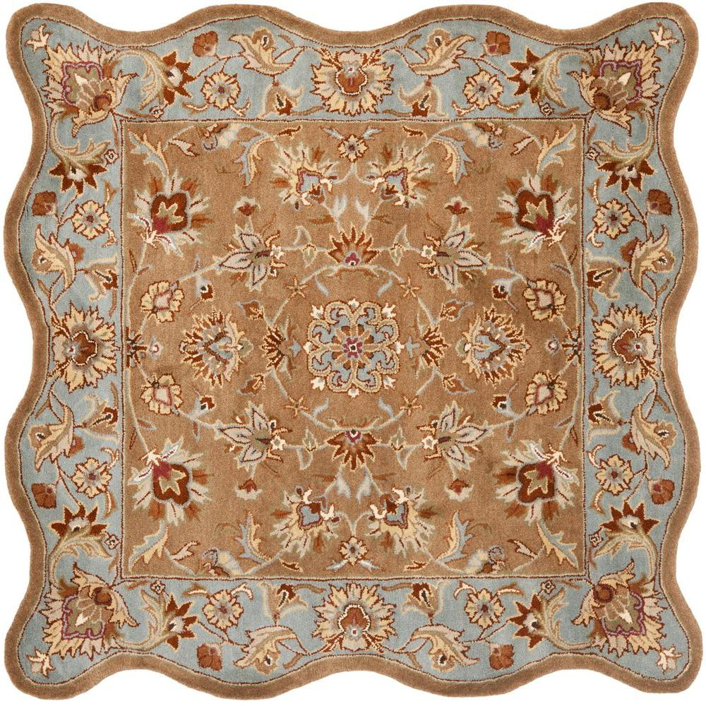 Heritage Beige/Blue 6 ft. x 6 ft. Scalloped Square Area Rug