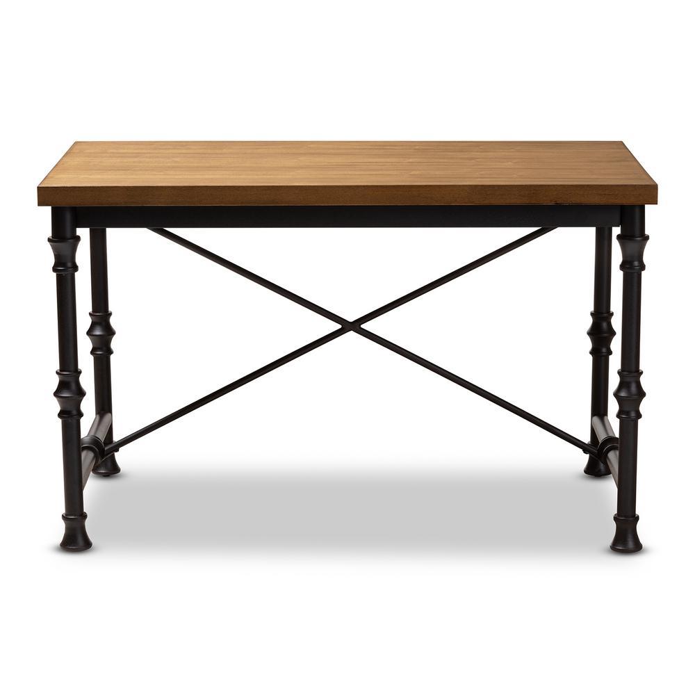 48 in. Rectangular Dark Oak Brown/Dark Bronze Writing Desks with Storage