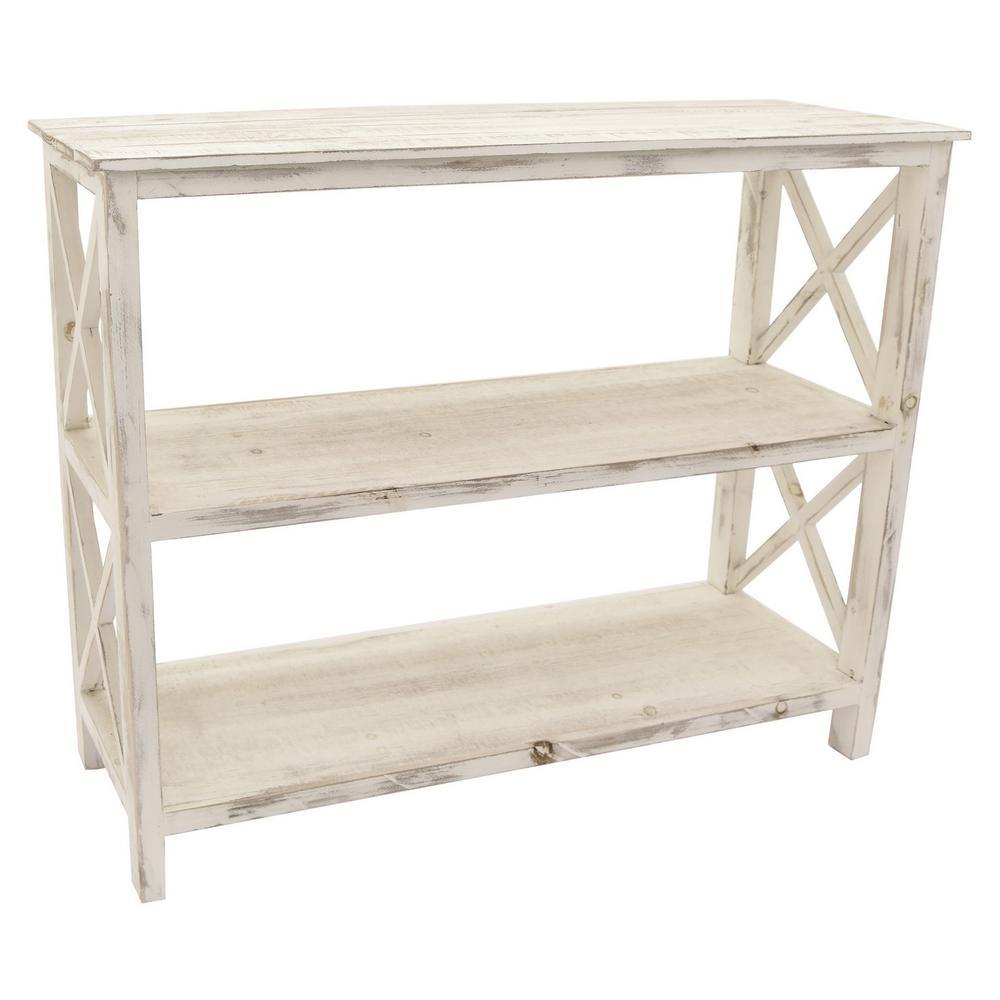 38 in. x 12 in. x 31 in. Distressed White Wood Shelf
