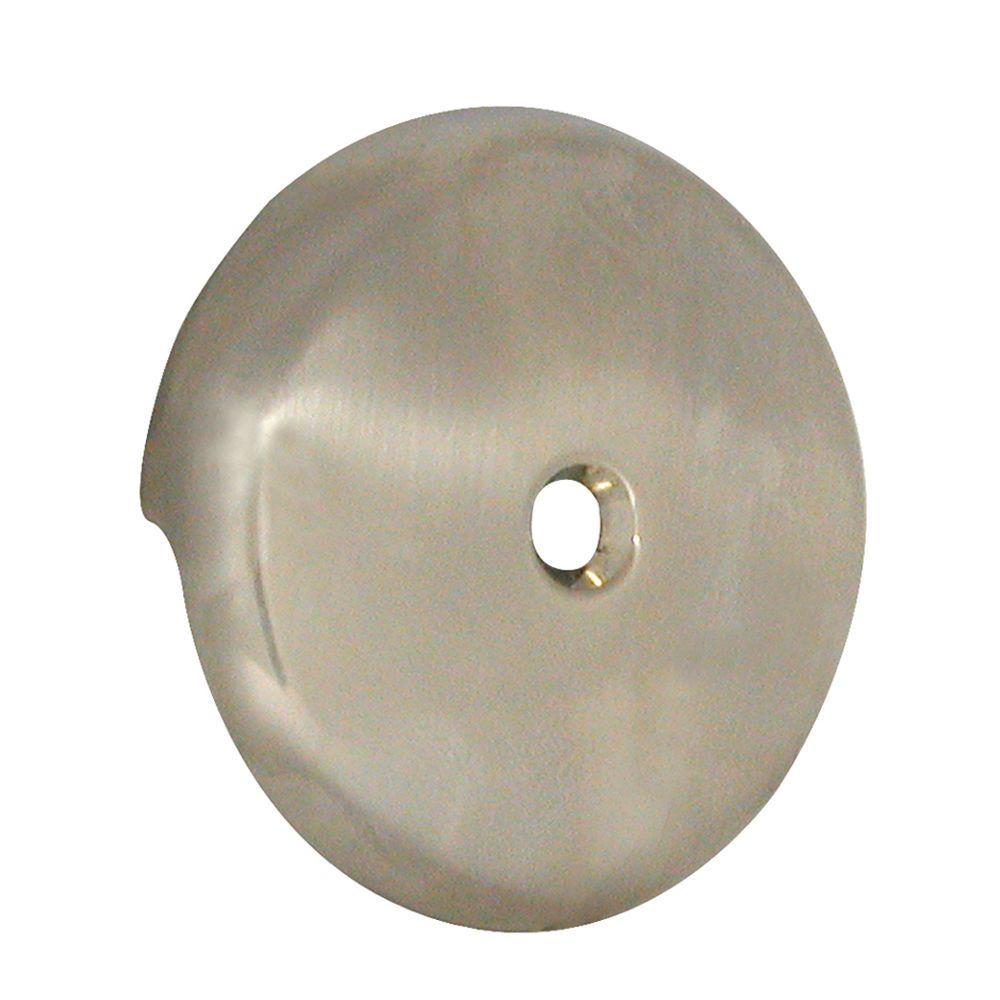 Tub Drain Overflow Plate in Brushed Nickel