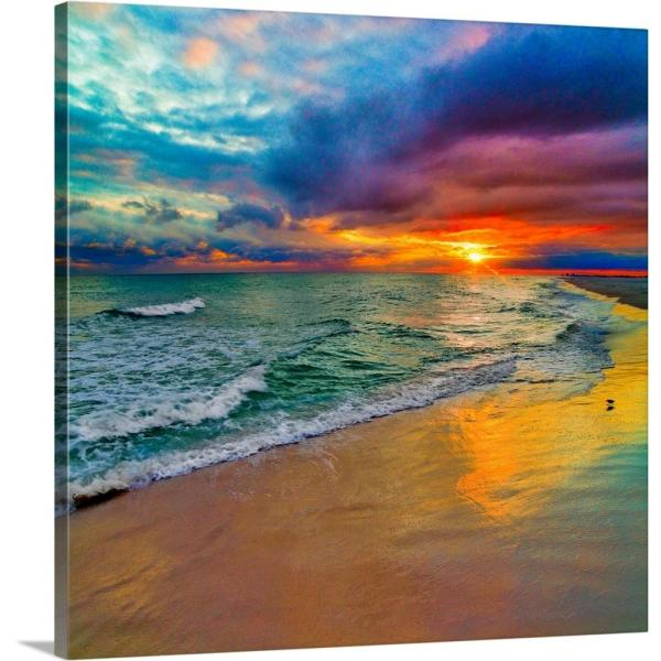 ''Colorful Seascape-Swirling Multi Color Sunset'' by Eszra Tanner Canvas Wall Art