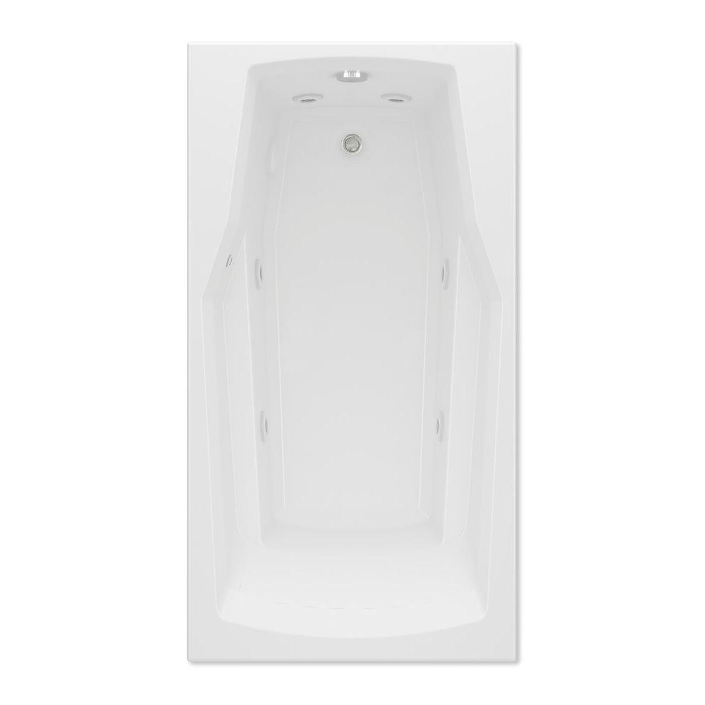 Derby 5 ft. Reversible Drain Acrylic Whirlpool Bath Tub in White