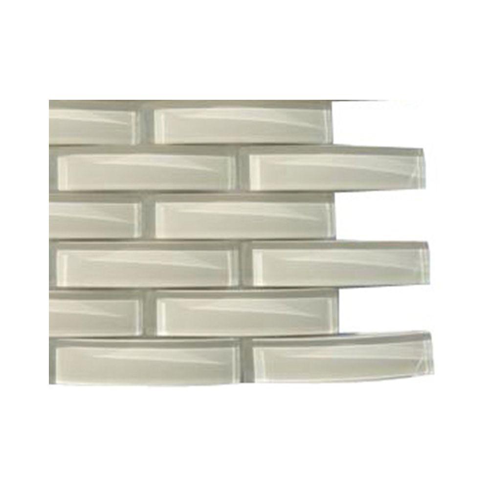 Splashback Tile Sand Beach Pelican Glass Mosaic Floor and Wall Tile - 3 in. x 6 in. x 8 mm Tile Sample