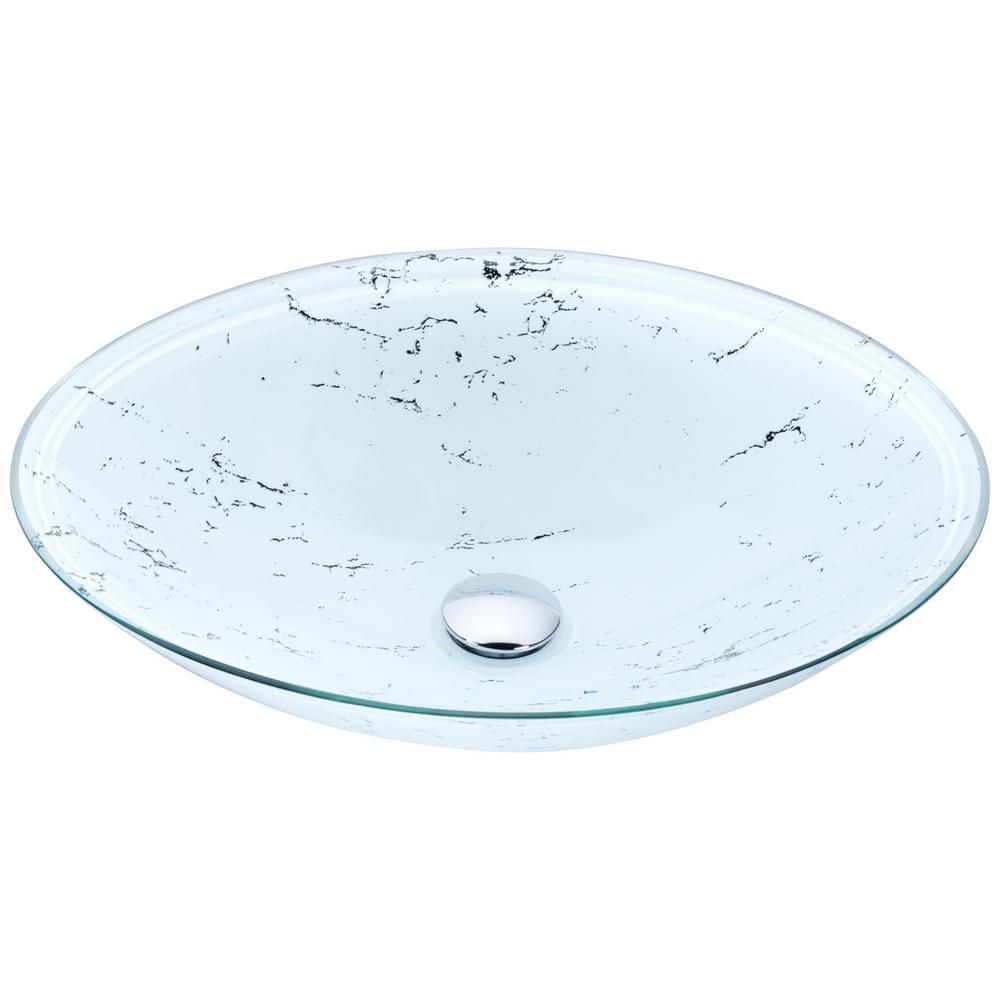 Marbela Series Vessel Sink in Marbled White