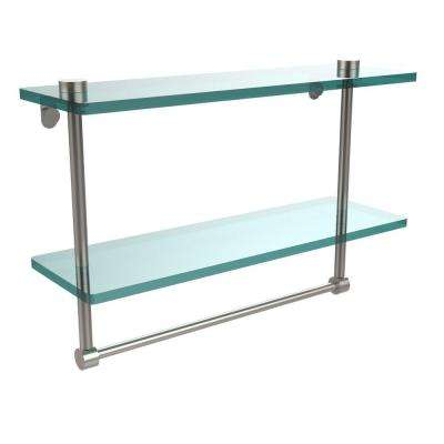 16 in. L  x 12 in. H  x 5 in. W 2-Tier Clear Glass Vanity Bathroom Shelf with Towel Bar in Satin Nickel