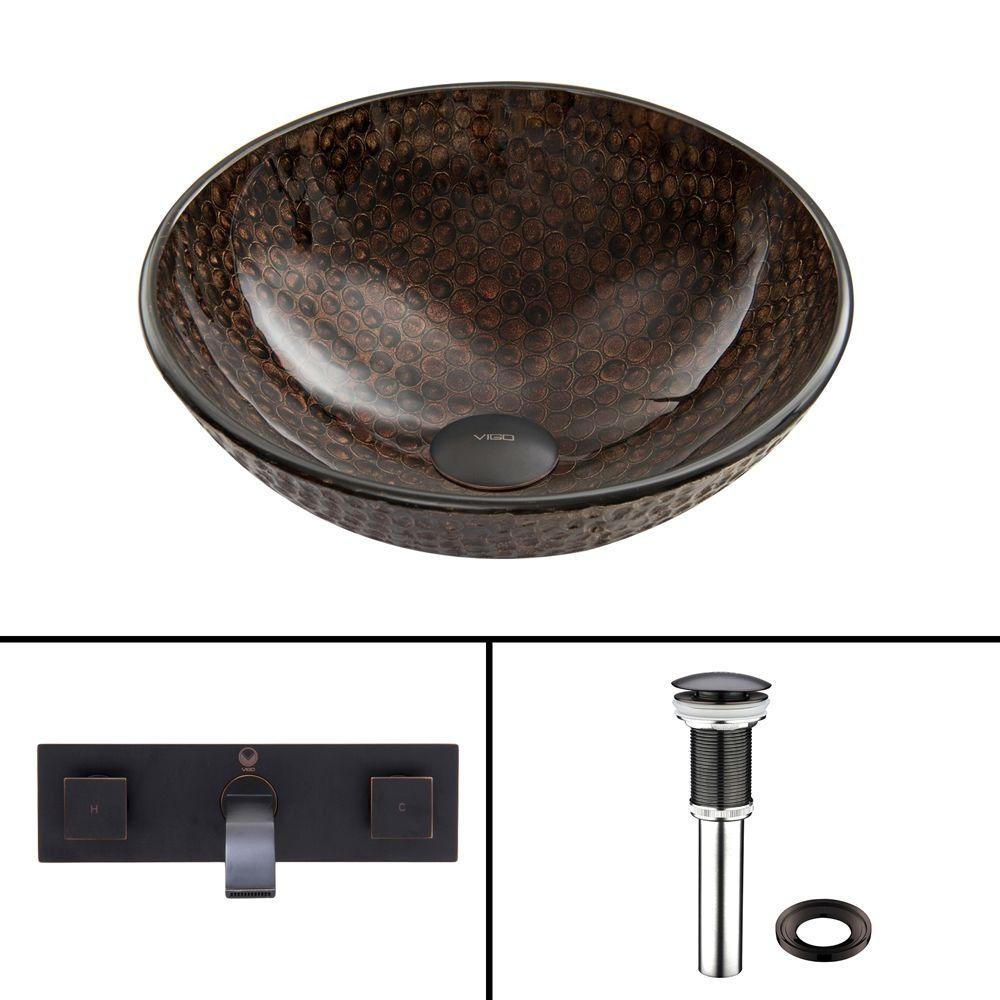VIGO Glass Vessel Sink in Copper Shield with Titus Wall-Mount Faucet Set in Antique Rubbed Bronze