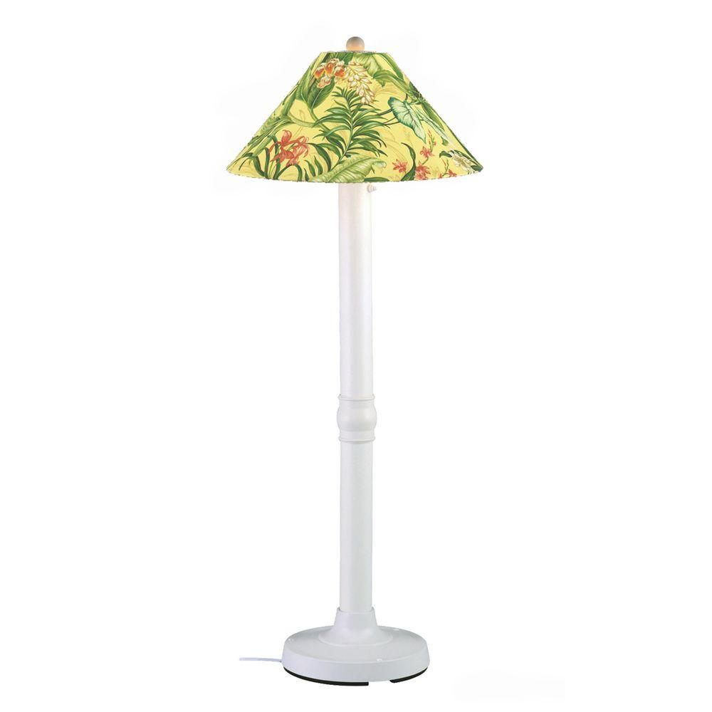 Patio Living Concepts Seaside 60 in. Outdoor White Floor Lamp with Soleil Shade