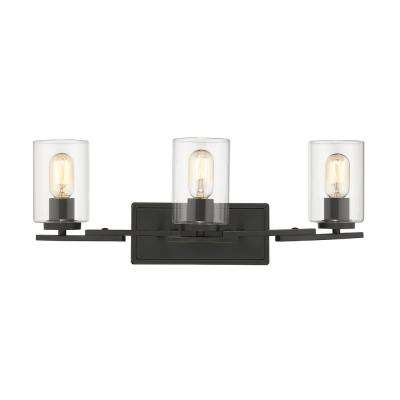 Monroe 3-Light Black with Clear Glass Bath Vanity Light