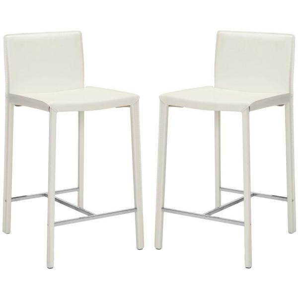 Jason 24 in. White Cushioned Bar Stool (Set of 2)