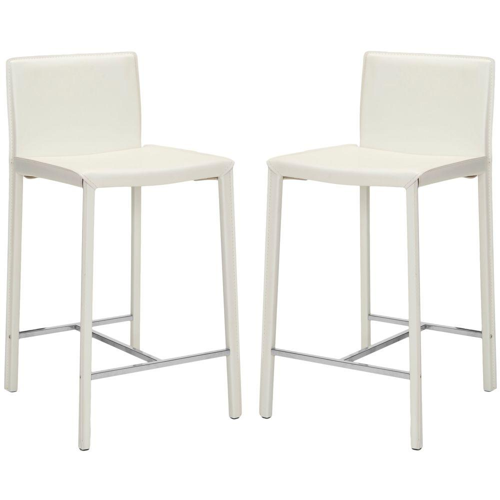 white bar stools safavieh jason 24 in white cushioned bar stool set of 2 29648