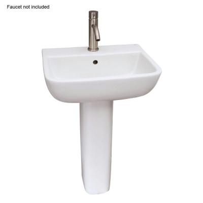Series 600 20 in. Pedestal Combo Bathroom Sink with 1 Faucet Hole in White