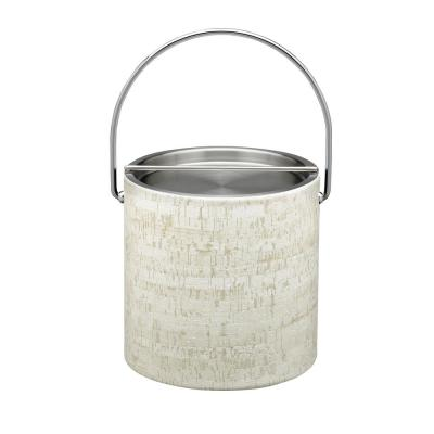 Stucco Cork 3 Qt. Ice Bucket with Bale Handle, Stainless Bar Lid