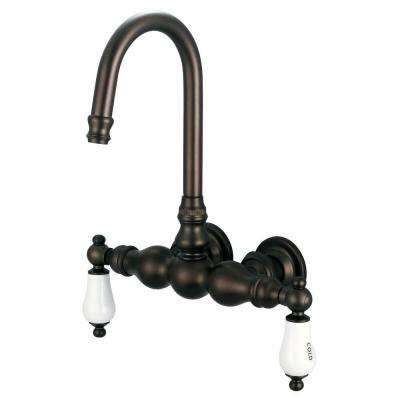 2-Handle Wall Mount Claw Foot Tub Faucet with Labeled Porcelain Lever Handles in Oil Rubbed Bronze