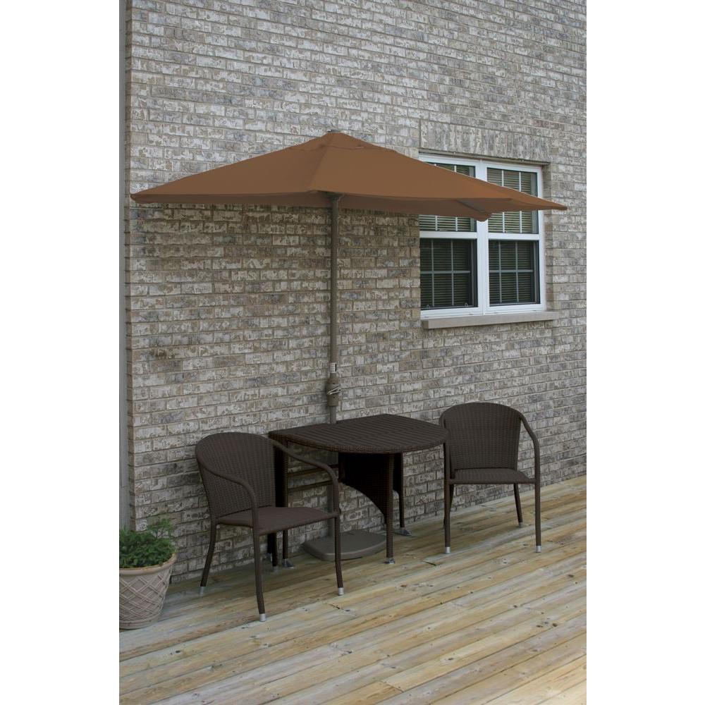 Terrace Mates Genevieve 5-Piece Java Patio Bistro Set with 7.5 ft. Teak Sunbrella Half-Umbrella