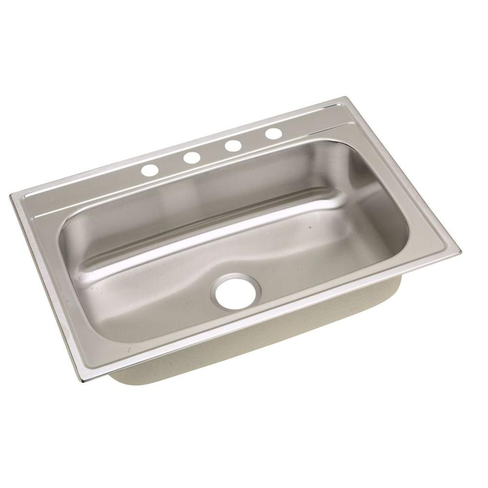 Elkay Signature Drop-in Stainless Steel 33 in. 4-Hole Single Bowl ...