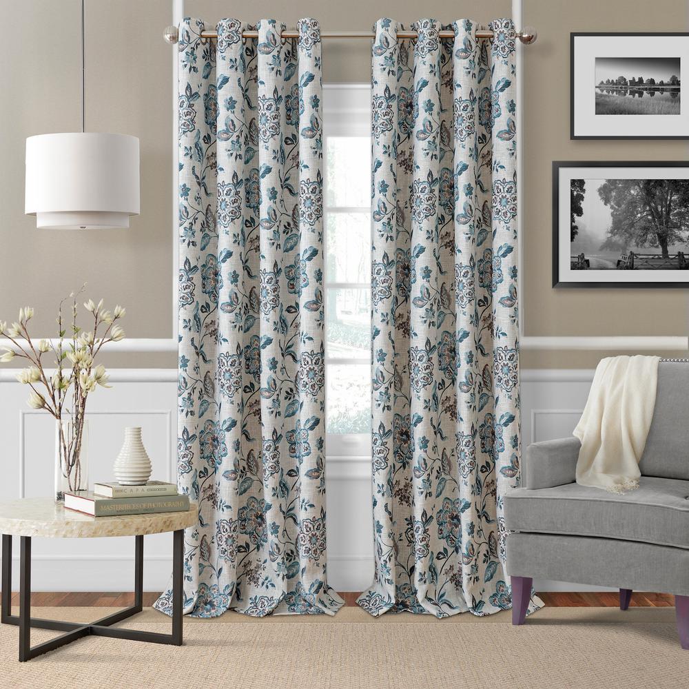 Elrene Sorrento Blue/Taupe Single Blackout Window Curtain Panel   52 In. W X