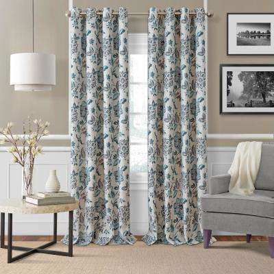 Sorrento Blue/Taupe Single Blackout Window Curtain Panel - 52 in. W x 84 in. L