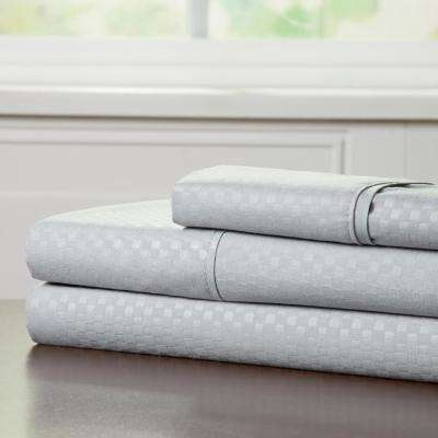 Embossed 3-Piece Platinum 90 GSM Microfiber Twin XL Sheet Set