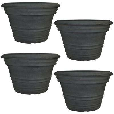 16 in. Copper Victoria Resin Outdoor Flower Pot Planter (4-Pack)