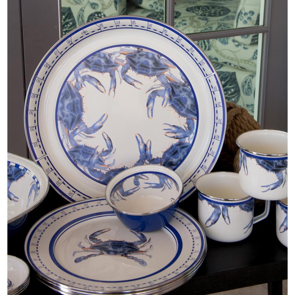 Blue Crab 4 qt. Enamelware Round Serving Bowl