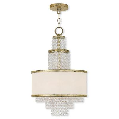 Prescott 3-Light Winter Gold Mini Chandelier with Off-White Sheer Organza Shade