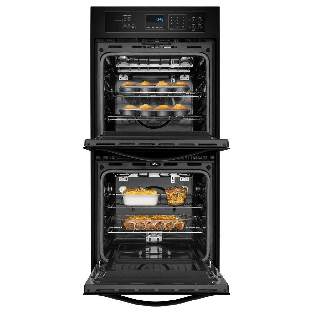 Whirlpool 24 In Double Electric Wall Oven Self Cleaning Black