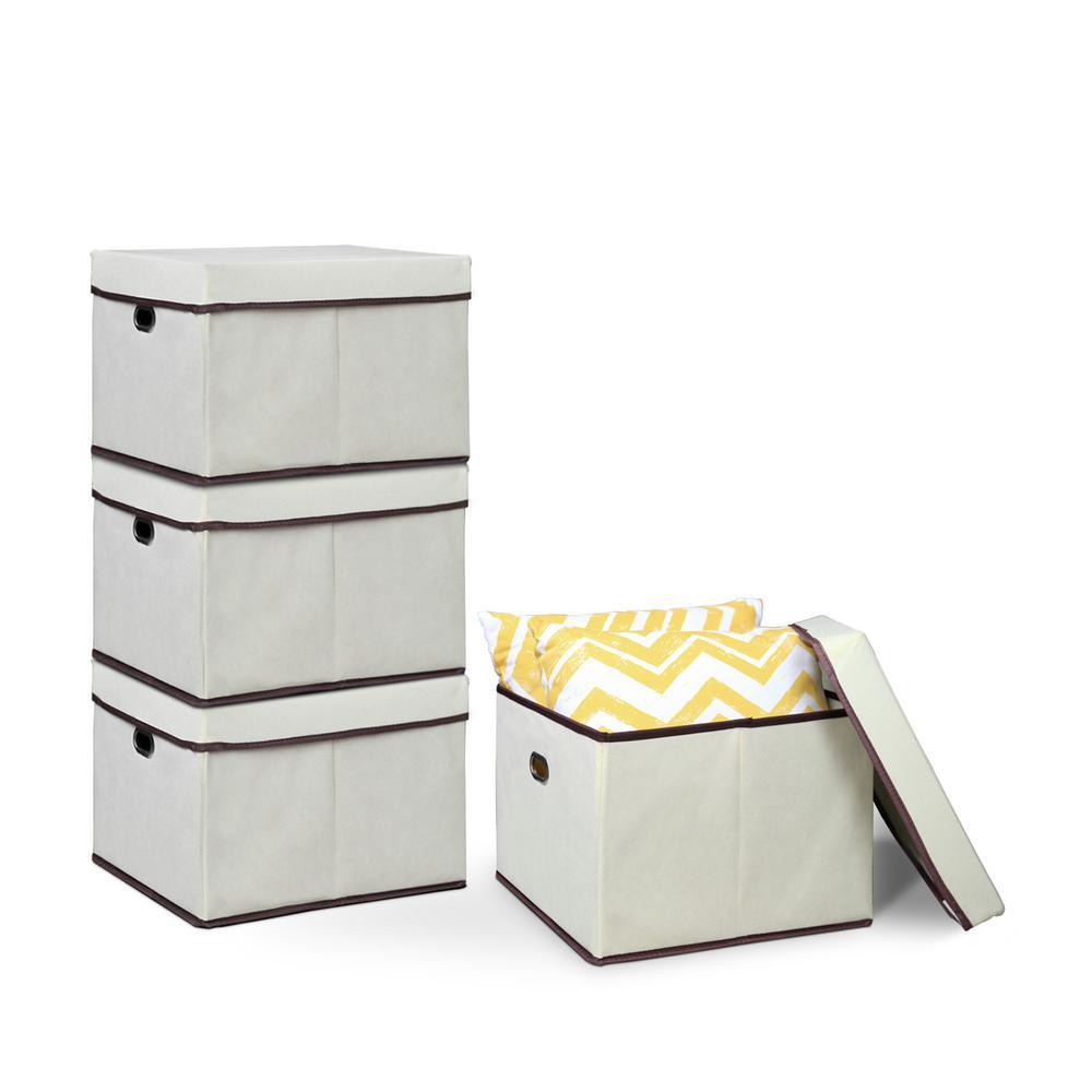 12.5 in. x 15.3 in. Heavy Duty Ivory Non-Woven Fabric Storage Bin (4-Pack)