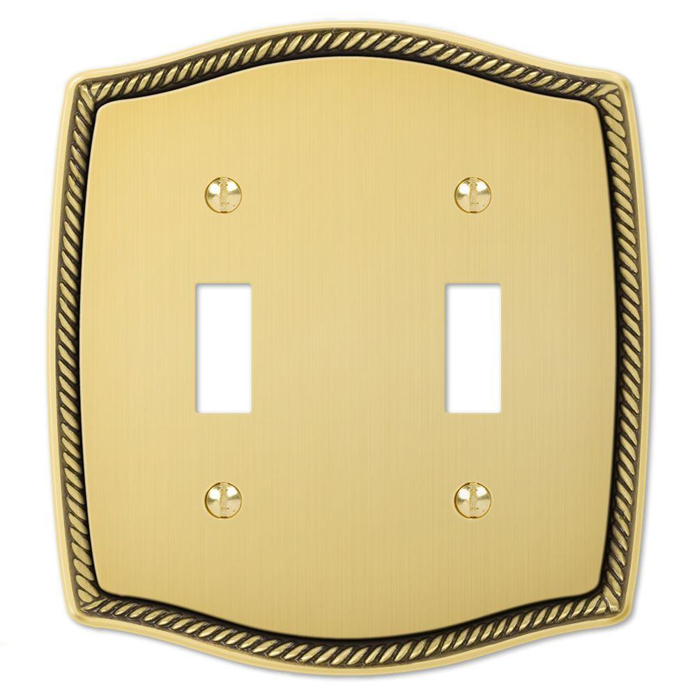 Creative Accents English Rope 2 Toggle Wall Plate - Antique Brass