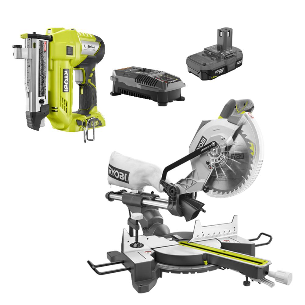 Ryobi 15 Amp 10 In Sliding Compound Miter Saw And 18 Volt Cordless Airstrike One Pin Nailer Kit Tss103 P318kn The Home Depot