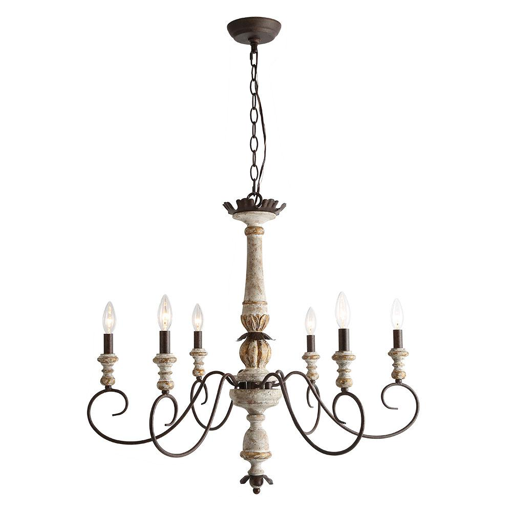 Lnc 6 light antique white wood french country farmhouse chandelier